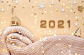 Christmas and New Year 2021, plaid, decorations.