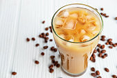 Iced coffee in a glass On a white wooden background