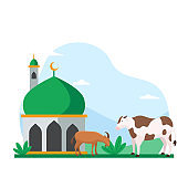 Eid Al Adha islamic holiday the sacrifice of livestock animal poster background design. Cow and goat at mosque courtyard for qurban vector illustration