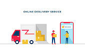 Online shop shipping service vector illustration concept design with open box delivery truck and courier man bring the shipment box to costumer in smartphone background with notification.