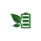 battery leaf eco nature icon vector illustration