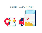 Online delivery service vector illustration concept design. Courier man bring the shipment box to costumer with delivery truck inside mobile smartphone screen.