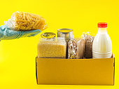 Safe food delivery concept on yellow background