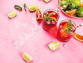 Fresh iced red cocktail with blood orange
