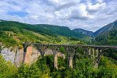 Durdevica Tara arc bridge in the mountains, Montenegro