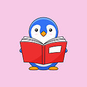 Cute penguin enjoy read thick book vector outline illustration mascot