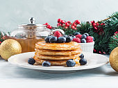 Stack of pancakes as winter holiday treat