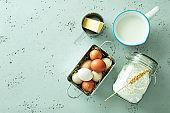 Kitchen - basic food cooking ingredients (eggs, milk, flour, butter)