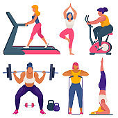 Fitness women different sizes doing sports