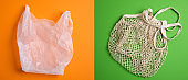 Disposable Plastic Polythene Bag vs Reusable Mesh Net Shopping Bag Cotton Eco Friendly Tote String. Comparison concept. Plastic free, Zero Waste, Sustainable Lifestyle