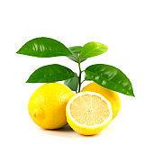 Fresh cut Lemon with green leaves