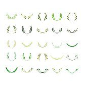 Laurel wreath bundle. Made of hand drawn greenery, wild flowers and field herbs. Green silhouettes isolated on white. Botanical drawing. Vector illustration. Graphic