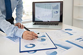 business people analysis business and financial data