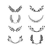 Laurel wreath set. Made of hand drawn greenery, wild flowers and field herbs. Black silhouettes isolated on white. Botanical drawing. Vector illustration.