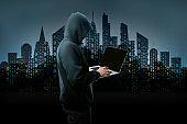 unknown hacker in the hood