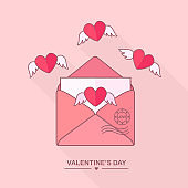 Envelope with love message, open letter with flying hearts. Happy valentines day