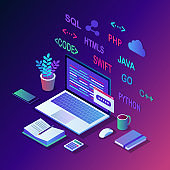 Software development, programming language, coding. 3d isometric laptop, computer with digital application isolated on white background. Vector design