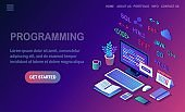 Software development, programming language, coding. 3d isometric pc, computer with digital application