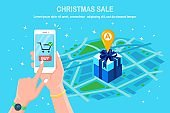 Discount christmas sale, online shopping concept. 3d isometric gift box with pin, marker on map