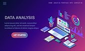 Data analysis. Digital financial reporting, seo, marketing. Business management, development. 3d isometric laptop, computer, pc with graph, chart, statistic