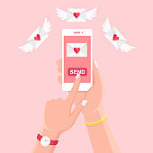 Valentine's day illustration. Send or receive love sms, letter, email with white mobile phone. Human hand hold cellphone, smartphone