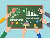 Business analysis, data analytics, research statistic, planning. Graph, charts, diagram on chalkboard. People analyze, plan development, marketing
