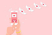 Valentine's day illustration. Send or receive love sms, letter, email with mobile phone. White cellphone in hand isolated on background. Flying envelope with red heart, wings