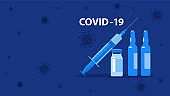 Vaccine and syringe. Novel coronavirus (2019-nCoV). Covid-19 medicine that will stop the epidemic and save people. Medicine infectious concept.
