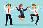 Happy business people jumping for joy. Smiling man and woman in suit isolated on background. Employee celebrate success, victory, good work