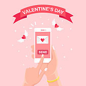 Valentine's day illustration. Send or receive love sms, letter, email with mobile phone