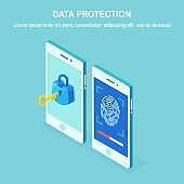 Data protection. Scan fingerprint to mobile phone. Smartphone id security system. Digital signature concept. Biometric Identification technology, personal access. 3d isometric phone Vector design