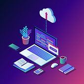 Cloud storage technology. Data backup. 3d isometric laptop, computer, pc with mobile phone isolated on background. Hosting service for website. Vector design for banner