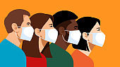 Multi-ethnic people in medical masks. Prevention of flu, pneumonia, and viral infections. Respiratory protection against air pollution. Protective masks in public places. Yellow background.