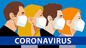 People in medical masks during the epidemic of the coronavirus. Prevention of flu, pneumonia and viral infections. Multi-ethnic men and women wear protective masks in public places.