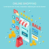 Online shopping concept. Buy in retail shop by internet. Discount sale