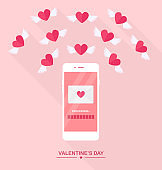 Valentine's day illustration. Send or receive love sms, letter, email with mobile phone. White cellphone isolated on  background. Envelope, flying red heart with wings