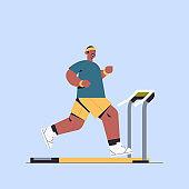 sportsman running on treadmill man having workout cardio fitness training healthy lifestyle sport
