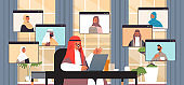 arabic businessman chatting with arabian colleagues during video call business people having online conference