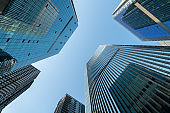 low angle view of modern skyscrapers.