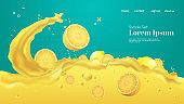 fresh yellow lemon juice liquid splash realistic splashes healthy fruits splashing waves horizontal copy space