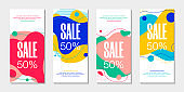 Set of 4 abstract modern graphic liquid banners. Dynamical waves different fluid forms. Isolated templates with flowing shapes in trendy 80s style. For the special offer, flyer or presentation.