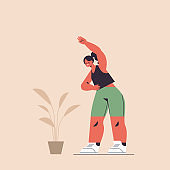 sportswoman doing stretching exercises girl having workout cardio fitness training healthy lifestyle sport concept