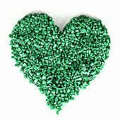 Green colored plastic granules