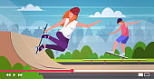 bloggers skaters performing tricks in skate board park recording video man woman vloggers riding skateboards live streaming blogging concept landscape background horizontal full length