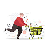 smiling man pushing trolley cart with medical cannabis products in boxes marijuana legalization drugs consumption concept full length