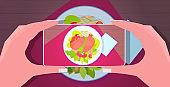 food blogger using smartphone taking photo of fresh prepared dish for blog social media blogging concept horizontal