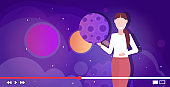 blogger recording online video solar system exploration astronomy lesson blogging concept woman giving educational trainingportrait horizontal