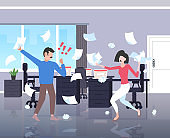 businesspeople throwing papers conflict problem concept businessman woman couple arguing colleagues disputing having disagreement at work negative emotions office interior horizontal full length