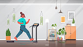 woman running on treadmill at home girl having workout cardio fitness training healthy lifestyle home sport