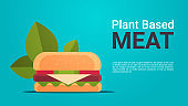 plant based beyond meat hamburger healthy lifestyle vegetarian food concept horizontal copy space